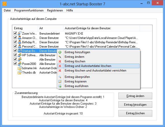 Screenshot vom Programm: 1-abc.net Startup Booster