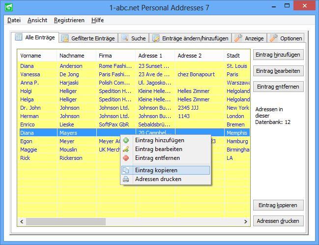 Screenshot vom Programm: 1-abc.net Personal Addresses